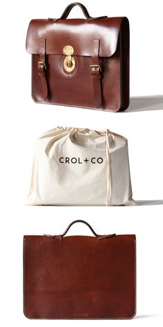 Leather briefcase in dark brown, Italian vegetable tanned leather.  CROL+CO