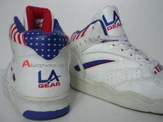 90`s Vintage La Gear Stars and Stripes Basketball Hi Shoes Tops BB Tech Lights | eBay