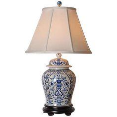English Blue and White Porcelain Temple Jar Table Lamp - #G7064 | Lamps Plus