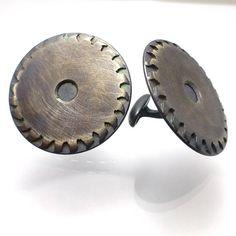 Mens Cuff Links Saw Blade Large size 1 inch round Oxidized