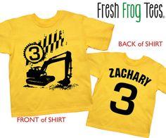 Construction Digger Birthday Shirt tshirt 1st by FreshFrogTees
