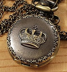 Brand New Bronze King Crown Necklace Chain Quartz Pocket Watch Gift