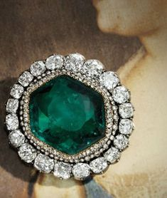 This diamond brooch set with a Colombian emerald of over 60 carats once belong to Catherine the Great (1729-1796)