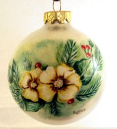 Hand Painted Glass Christmas Ornament - Ivory Flower Spray on Silver Ball