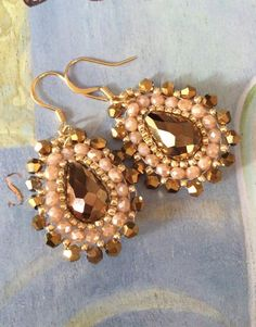 Beadwork Earrings BRONZE GODDESS Seed Bead Crystal Drop Earrings Small Dangle Earrings