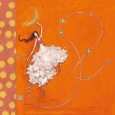 """Gaëlle Boissonnard square card (14 cm)""""La fille, la lune et les étoiles"""""""