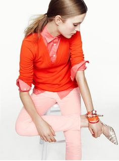 red on coral on pink