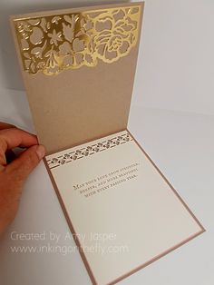 inside of the Gold and Blushing Wedding Card by Amy Jasper using the Floral Phrases Stamp Set and the Detailed Floral Thinlits die by Stampin' Up! Wedding Shower Cards, Wedding Cards, Envelopes, Stampin Up Anleitung, Scrapbooking, Wedding Anniversary Cards, Happy Anniversary, Engagement Cards, Stamping Up Cards