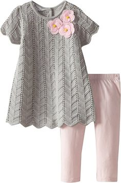 I loves grey Baby Outfits, Toddler Outfits, Kids Outfits, Knit Baby Dress, Crochet Baby Clothes, Knitting For Kids, Baby Knitting Patterns, Amazon Clothes, Baby Girl Sweaters