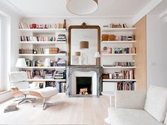 Small Home Library Design Bookcases Ideas Living Room Decor, Living Spaces, Bedroom Decor, Home Library Design, House Design, Floor To Ceiling Bookshelves, Bookshelf Wall, Sweet Home, Home Libraries