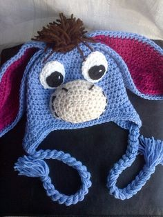 Crochet Eee-Haw Hat Inspired by the character Eeyore - Inspiration