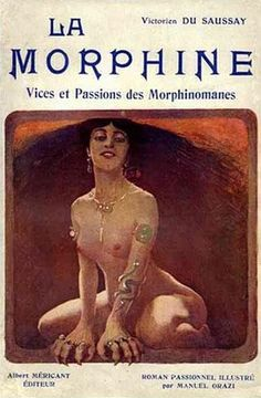 "'La Morphine - Vices et Passions des Morphinomanes' by Victorien du Saussay, was published in 1906, and is described by Barbara Hodgson as ""a stark novel of addiction, failed cures, incest, indecent exposure and adultery."""