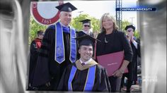 For two years, Judy O'Connor went to every class with her son, Marty, to help him earn his MBA from Chapman University. The university surprised her with an honorary degree on Graduation Day.