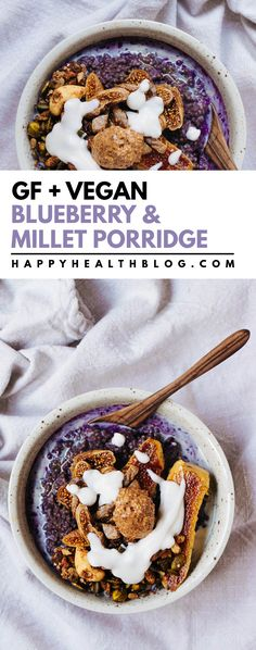 Omit butter Blueberry & millet porridge with cinnamon pan seared banana - Millet porridge is a healthy way to start your day. If you are looking for a warming and filling breakfast, this vegan, gluten free porridge, is it! Healthy Filling Breakfast, Detox Breakfast, Vegetarian Breakfast, Vegan Breakfast Recipes, Delicious Vegan Recipes, Breakfast Bowls, Raw Food Recipes, Healthy Breakfasts, Tasty