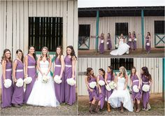 Purple wedding inspiration - perfect for this farm wedding! The bride and bridesmaids were all wearing cowgirl boots - so cute!