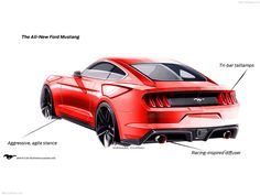 2015 Mustang Design Sketches, rear 3/4.