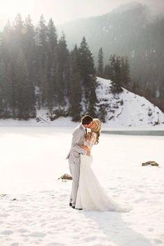 snowy mountain wedding