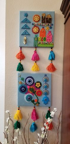 Diy Home Crafts, Clay Crafts, Arts And Crafts, Paper Crafts, Craft From Waste Material, Desi Wedding Decor, Yarn Wall Art, Fusion Art, Clay Art Projects