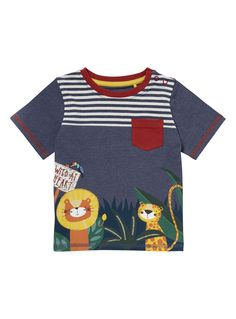 He's sure to love this fun and comfortable jungle print t-shirt. In blue, this short sleeved top has a round neckline and a contrast red chest pocket, with short sleeves and a cool lion and cheetah print on the front offering a great style.