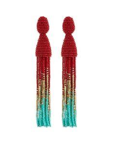 Y2ZMQ Oscar de la Renta Beaded Ombre Tassel Earrings