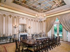 Neoclassical Formal Dining Room With Trompe Loeil Ceiling