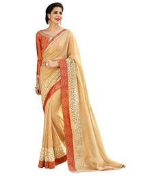 Buy Beige Border Worked Net,Faux Georgette Saree With Blouse net-saree online