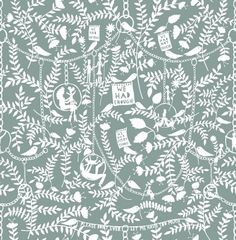 We Had Everything (RRMM02SA) - Mini Moderns Wallpapers - Following the success of their first collaboration, this whimsical wallpaper features Rob Ryan's paper cut imagery design with various motifs linked by delicate chains. Shown here in the sage colourway. Other colourways are available. Please request a sample for a true colour match.