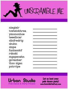 Bachelorette Party Game - Unscramble Me. Click to print or download for FREE, compliments of Miss Fit Academy in Nashville, TN  www.NashvillePoleParty.com