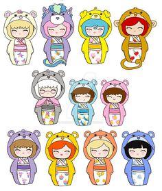 Kokeshi Care Bears + Cousins 2 by kaoshoneybun on DeviantArt