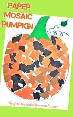 Paper Mosaic Pumpkin Craft - fun fall autumn crafts for kids - Halloween…