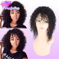 Mongolian Kinky Curly Wig Glueless Human Hair Black Women Kinky Curly Lace Front Wigs Baby Hair Short Kinky Curly Full Lace Wig