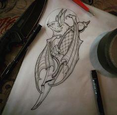 Bat and dagger Tattoo Sketches, Tattoo Drawings, Body Art Tattoos, Sleeve Tattoos, Geniale Tattoos, Desenho Tattoo, Tattoo Stencils, Neo Traditional Tattoo, Future Tattoos