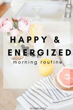 Today I am sharing with you how I start each day with a happy and energizing morning routine! Having a morning routine can transform your mood and day. Healthy Morning Routine, Morning Habits, Morning Routines, Daily Routines, Good Habits, Healthy Habits, Healthy Skin, Health And Fitness Tips, Health And Wellness