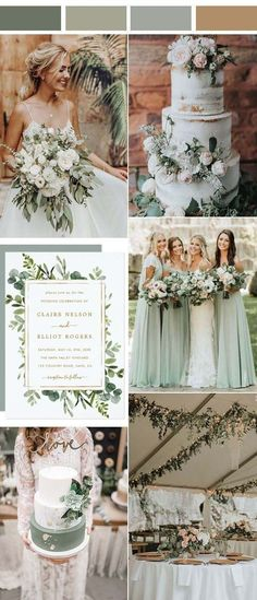 Spring Wedding Colors, January Wedding Colors, Wedding Colors Green, Neutral Wedding Colors, Wedding Ideas Green, Rustic Wedding Colors, Best Wedding Colors, Spring Wedding Decorations, Wedding Greenery