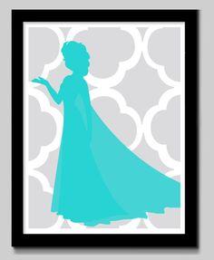 Disney Princess Silhouette Art by EdmondsonbyDesign on Etsy, $15.00