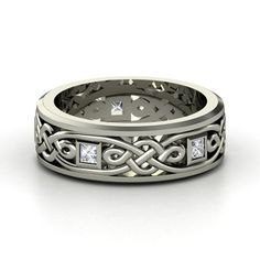 Men's 14K White Gold Ring with White Sapphire - Alhambra Knot Band | Gemvara
