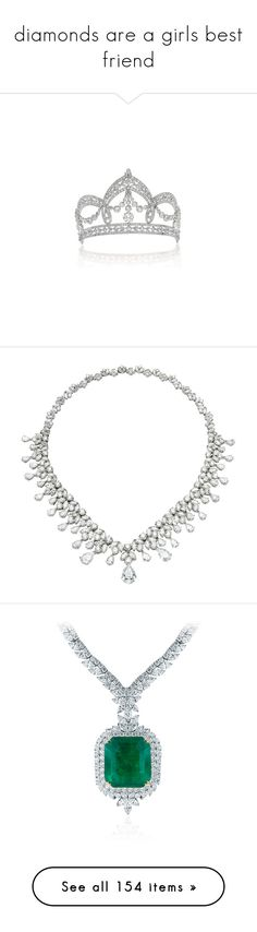 """diamonds are a girls best friend"" by kbizzutto ❤ liked on Polyvore featuring jewelry, tiaras, crowns, coroa, necklaces, accessories, jewels, joias, multiple and diamond necklace"