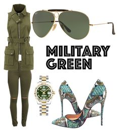 """GreenGreenMean"" by heavydressing on Polyvore featuring Christian Louboutin, Marissa Webb, Rolex and Ray-Ban"