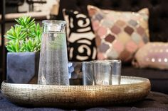 Arrange your vignette, step out of the room, walk back in and take another look at it. Basic Design Principles, Shelfie, Vignettes, Voss Bottle, Day, Creative, Patio, Interiors, Room