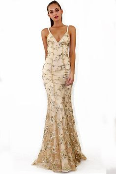 fa943b86fc7f Sequin Gold Straps Mermaid Cheap Evening Prom Dresses, Sweet 16 Dresses,  18302