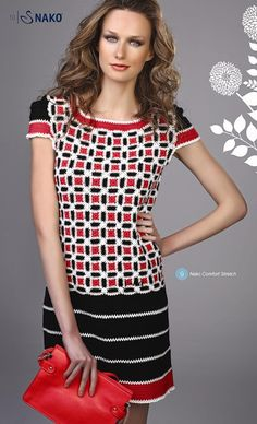 Crochet white, black and red dress  ♥LCD-MRS♥ with diagrams.