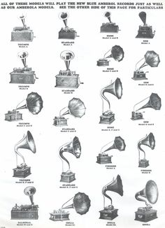 Various Edison phonographs, circa 1910s. Amberol records were wax cylinders produced by the Edison company from 1912 to 1929.