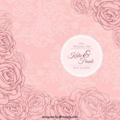 Pink roses wedding invitation Free Vector