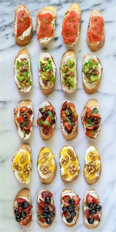 Top simple bruschetta with whipped ricotta and a variety of sweet and savory toppings for a party appetizer that's easy yet impressive.Bruschetta with Whipped Ricotta {wine glass writer} Brunch Recipes, Summer Recipes, Appetizer Recipes, Dinner Recipes, Tapas Recipes, Canapes Recipes, Delicious Appetizers, Brunch Food, Brunch Party