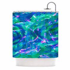"Ebi Emporium ""Motley Flow 5"" Blue Teal Shower Curtain from KESS InHouse"