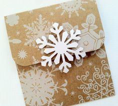 Snowflake Gift Card Holder, Kraft Christmas Gift Card Holder