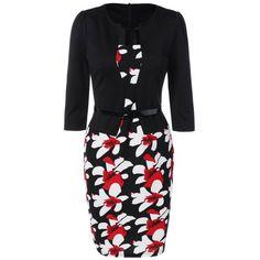$19.00 Floral Jacket Look Pencil Dress - Black