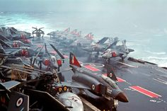 HMS Ark Royal with Phantom of SQ and Buccaneer of SQ and a Fairey Gannet plus a Westland Sea King. British Aircraft Carrier, Navy Aircraft Carrier, Military Jets, Military Aircraft, Hms Ark Royal, War Jet, Navy Carriers, F4 Phantom, Capital Ship