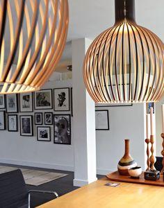 Beautiful Wood Lamps Handmade in Finland - Secto Design Lamps by Seppo Koho Interior Lighting, Home Lighting, Lighting Design, Lighting Ideas, Rattan Lampe, Berlin Design, Wooden Lamp, Room Lights, Scandinavian Interior