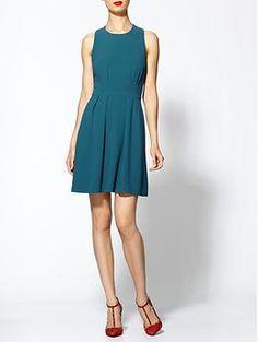 Blue a-line sleeveless dress #fashion